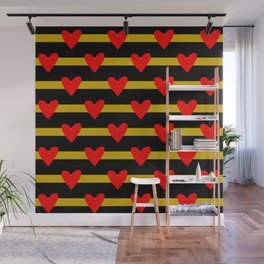 Hearts and stripes pattern Wall Mural