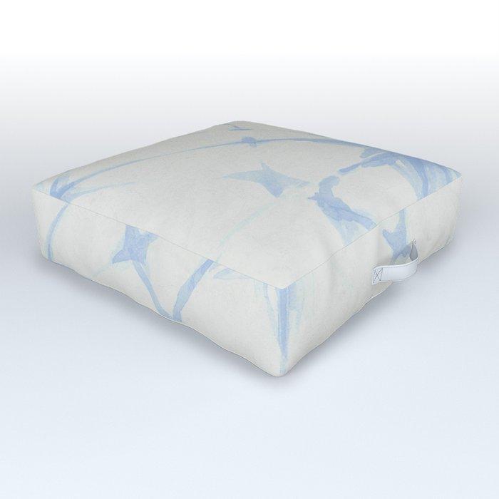 Shibori Starburst Sky Blue on Lunar Gray Outdoor Floor Cushion