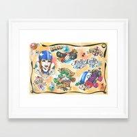 roller derby Framed Art Prints featuring Roller Derby Flash Sheet by hill & dale handmade illustration