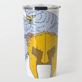 Horned Owl Clutching Spartan Helmet Drawing Travel Mug
