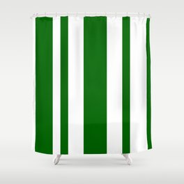 Mixed Vertical Stripes - White and Dark Green Shower Curtain