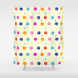 Flower Pattern in many colors on light Yellow Background Shower Curtain