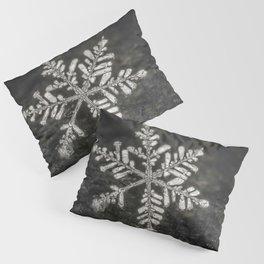 Freshly Fallen Snow Flake. Macro Photography Pillow Sham