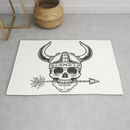 Vintage skull in the viking helmet with arrow in monochrome style isolated illustration Rug