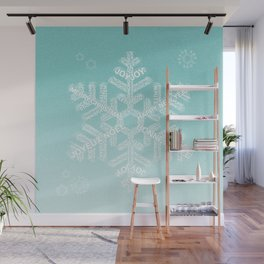 Typographic Snowfake Greetings - Ombre Teal Wall Mural