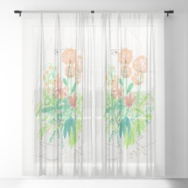 Flower flower Sheer Curtain