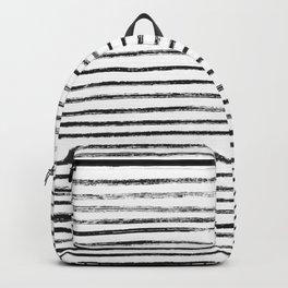 Black Brush Lines on White Backpack
