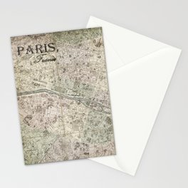 Vintage Paris Map Stationery Cards