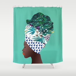 Tofo, Mozambique Capulana Lady Shower Curtain