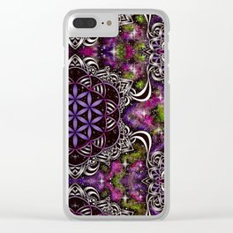 Flower of Life - purple Clear iPhone Case