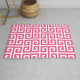 Large Pink and White Greek Key Pattern Rug