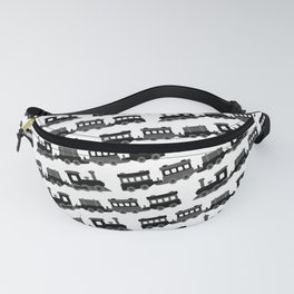Black and White Wooden Toy Trains Pattern Fanny Pack