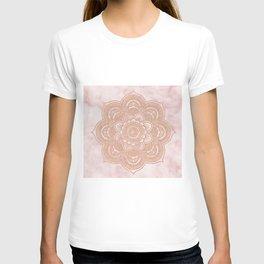 Rose gold mandala - pink marble T-shirt