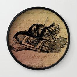Vintage Cat Collage-Grunge Background Wall Clock