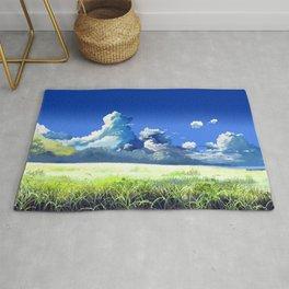 Stunning Green Prairie Woodland Breathtakingly Lovely Day Cartoon Scenery Ultra High Resolution Rug