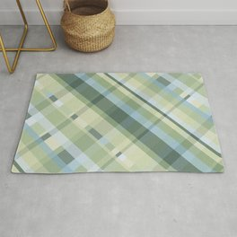 Cyan, yellow and green crisscross lines, abstract checkered pattern Rug