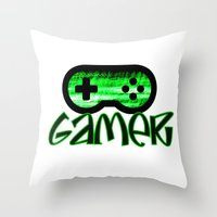 gamer Throw Pillows featuring Gamer Green by UMe Images