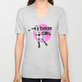 Roller derby girl pink - skater girl - rollerskating - derby life - skate life Unisex V-Neck