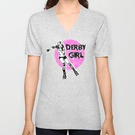 Roller derby girl skates, rollerskater girl, rollerskating, derby life, skate life Unisex V-Neck