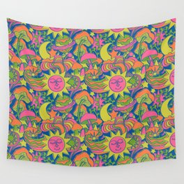 Psychedelic Daydream in Neon + Blue Wall Tapestry