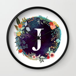 Personalized Monogram Initial Letter J Floral Wreath Artwork Wall Clock
