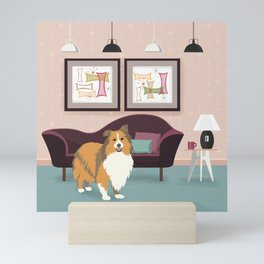 A Happy Home Has A Sheltie - Shetland Sheepdog In A Midcentury Interior Mini Art Print