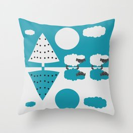 White sheep in a blue world Throw Pillow