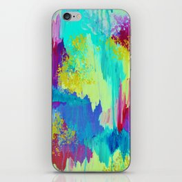SUGARY GOODNESS - Lovely Cotton Candy Sweet Dreams Colorful Rainbow Abstract Chevron Ikat Painting iPhone Skin