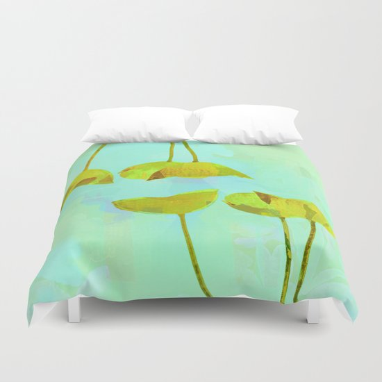 6 yellow flowers on turquoise Duvet Cover