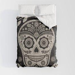 Day of The Dead   Día de los Muertos   Black & Tan Comforters