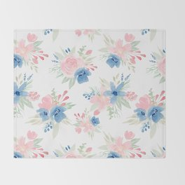 Blush Pink and Navy Watercolor Florals Throw Blanket