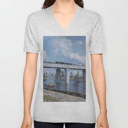 Claude Monet - The Railway Bridge at Argenteuil.jpg Unisex V-Neck