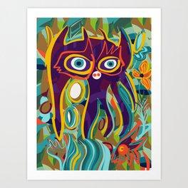 Street Art Purple Spirit of Nature in the Jungle  Art Print