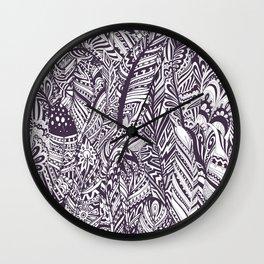Purple white hand painted tribal bohemian feathers pattern Wall Clock