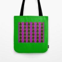 wes anderson Tote Bags featuring Pamela Anderson by Dora Birgis