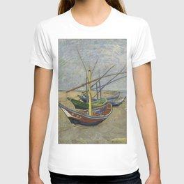 """Vincent Van Gogh """"Fishing boats on the Beach at Les Saintes-Maries-de-la-Mer"""" T-shirt"""