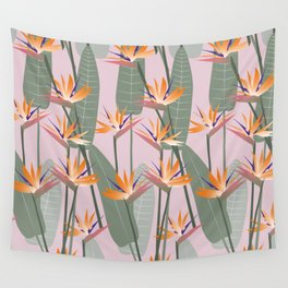 Bird of Paradise - pink Wall Tapestry