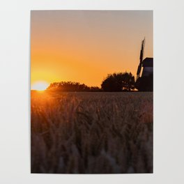 North German windmill from old time in the sunset Poster