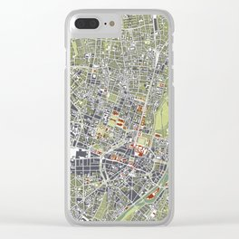 Munich city map engraving Clear iPhone Case