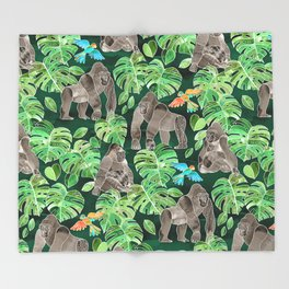 Gorillas in the Emerald Forest Throw Blanket