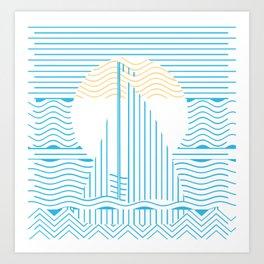Linear Sailing Sailboat Art Print