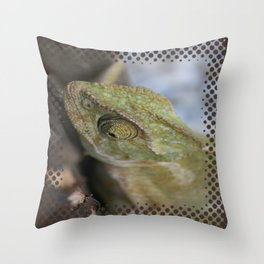 Wild Chameleon In Green Shades Throw Pillow