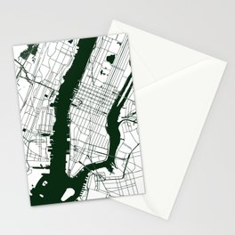New York City White on Green Street Map Stationery Cards