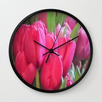 tulips Wall Clocks featuring Tulips by lillianhibiscus