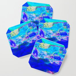 Tropical Electric Blue Abstract Digitally Enhanced Painting Photograph Coaster