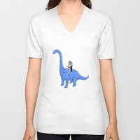 dinosaur V-neck T-shirts featuring Dinosaur B by Isaboa