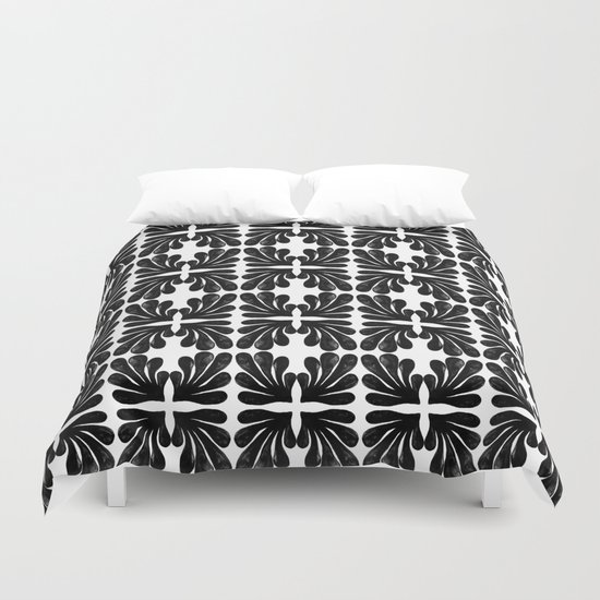 Grace - black and white abstract painting india ink brushstroke watercolor minimal modern urban  Duvet Cover