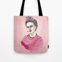 frida kahlo Tote Bags featuring Frida Kahlo by Barruf