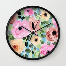Watercolor Flowers Preppy Pastels Wall Clock