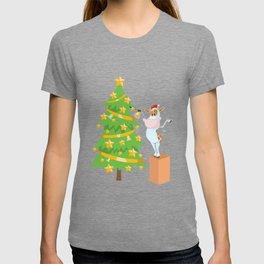 Christmas tree cow farmer farmer funny gift T-shirt